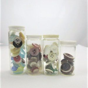 Set of 4 Vintage Glass RX Pill Bottles With Button